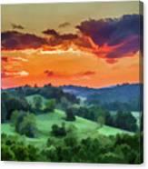 Fiery Sunset On The Farm Canvas Print