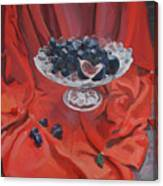 Figs And Grapes On Red  Canvas Print