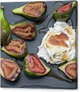 Figs Dessert With Mascarpone Canvas Print