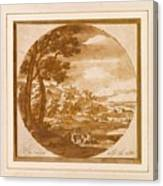 Figures In An Italianate  Canvas Print