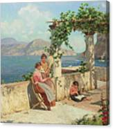 Figures On A Terrace In Capri  Canvas Print