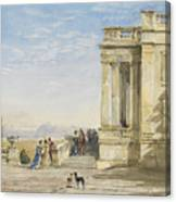Figures On A Terrace With Greyhounds Canvas Print