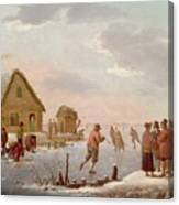 Figures Skating In A Winter Landscape Canvas Print