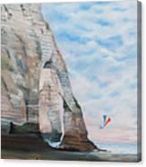 Fillette Au Cerf Volant - Etretat Canvas Print