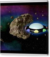 Film Frame With Asteroid And Ufo Canvas Print
