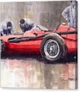 Final Check Before The Start Maserati 250 F 1957 Canvas Print