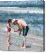 Finding Seashells Canvas Print