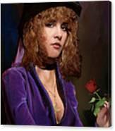 Fine Art Digital Portrait Stevie Nicks Crescent Moon Top Hat Canvas Print