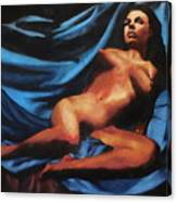 Fine Art Nude Multimedia Painting Tanya Sitting Reclined On Blue Canvas Print