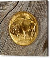 Fine Gold Buffalo Coin On Rustic Wooden Background Canvas Print