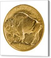 Fine Gold Buffalo Gold Coin On White Background  Canvas Print