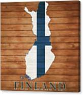 Finland Rustic Map On Wood Canvas Print