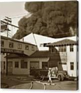 Fire At Cannery Row, Custom House Packing Company Sea Beach Cannery 1953 Canvas Print