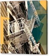 Fire Escapes In White And Gold Canvas Print