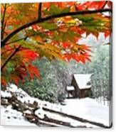 Fire Fog And Snowy Fence Canvas Print