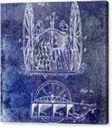 Fire Hose Cart Patent Blue Canvas Print