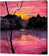Fire In The Sky    Lake Arrowhead Maine Canvas Print