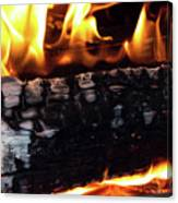 Fire On Wood Canvas Print