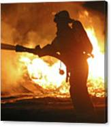 Firefighter In Silhouette Canvas Print