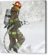 Firefighter In The Snow Canvas Print
