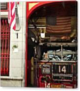 Firefighters Of New York - Engine Sweet 14 - Closeup Canvas Print