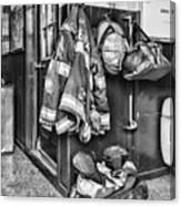 Fireman - Always Ready - Black And White Canvas Print