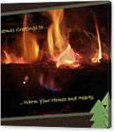 Fireside Christmas Greeting Canvas Print