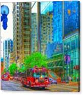 Firetruck In Chicago Canvas Print