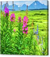 Fireweed In The Foreground 2 Canvas Print