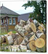 Firewood In The Village Canvas Print