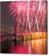 Fireworks And Waterfall Canvas Print