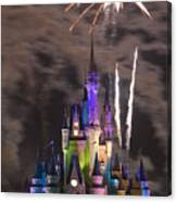 Fireworks Over Disney Castle Canvas Print
