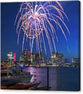 Fireworks Over The Boston Skyline Boston Harbor Illumination Streaming Down Canvas Print