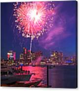 Fireworks Over The Boston Skyline Boston Harbor Illumination Canvas Print