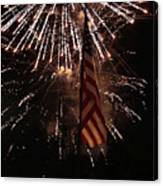 Fireworks With Flag Canvas Print