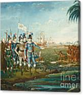 First Landing Of Christopher Columbus Canvas Print
