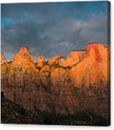 First Light On The Towers - Zion N.p.  Canvas Print
