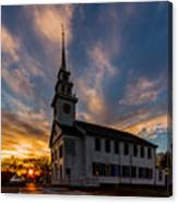 First Parish Church In Milton Massachusetts Sunset Canvas Print