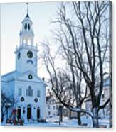 First Parish Church Manchester Ma North Winter Snow Canvas Print