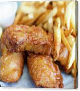 Fish And Chips On A Plate Canvas Print