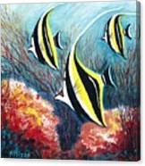Moorish Idol Fish And Coral Reef Canvas Print