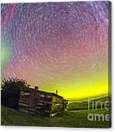 Fish-eye Lens Composite Of Aurora Canvas Print
