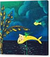 Fish Riding A Unicycle Canvas Print