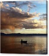 Fisherman At Sunset On Lake Titicaca Canvas Print