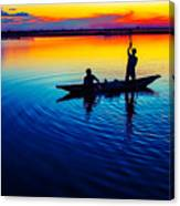 Fisherman Boat On Summer Sunset, Travel Photo Poster Canvas Print