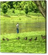 Fisherman Lazy Day At The Lake Canvas Print