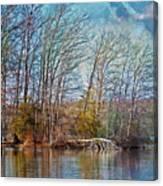 Fisherman On Burke Lake Canvas Print