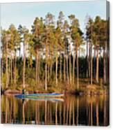 Fisherman On Evening Lake Canvas Print