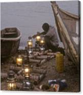 Fisherman Prepares Lanterns For Night Canvas Print