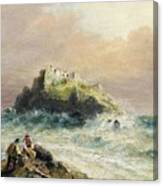 Fishermen On The Rocks Before A Castle Canvas Print